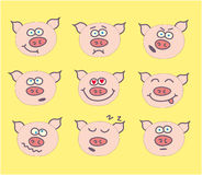 Pig cute emoticon set Stock Photography