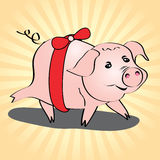Pig cute gift vector illustration Royalty Free Stock Images