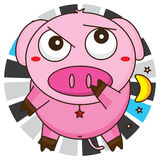 Pig cute pick their nose. Illustration cute ping pink pick their nose abstract moon star hidden do it white color background Stock Photos
