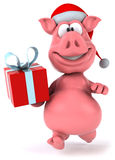 Pig. Cute pink happy pig, 3d generated Royalty Free Stock Image