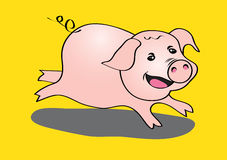 Pig cute running vector illustration  Royalty Free Stock Photography