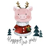 Pig in a deer costume royalty free illustration