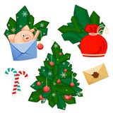 A pig with develop, bag, fir branches, Christmas tree, Christmas ball, snowflakes and sweet candy. royalty free illustration