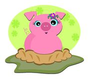 Pig in a Ditch Royalty Free Stock Images