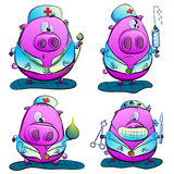 Pig doctor. Funny pigs represent health professionals - physicians, surgeons, nurse Stock Illustration