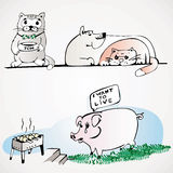 Pig dog cat Stock Photo