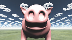 Pig and dollar clouds Royalty Free Stock Photography