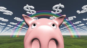 Pig and dollar clouds Stock Images