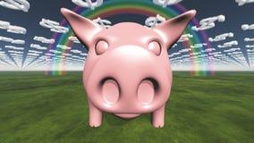 Pig and dollar clouds Stock Photos