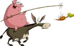Pig on a donkey. Pig rides on a donkey, vector Royalty Free Stock Photos