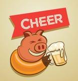Pig drink beer Stock Photos