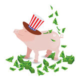 PIG DRIPER IN THE HAT WITH THE COLOR vector illustration