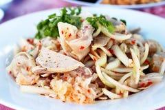 Pig ears and pork sausage salad. Thai food Pig ears and pork sausage salad Royalty Free Stock Photos