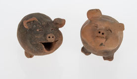 pig earthenware. Pig two beautiful earthenware Stock Photography