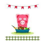 Pig Eating Food Feast Royalty Free Stock Photo