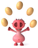 Pig and eggs Royalty Free Stock Image