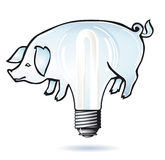 Pig electric bulb Royalty Free Stock Photography