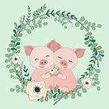 2018 02 23_pig_eucalyptus ilustração stock