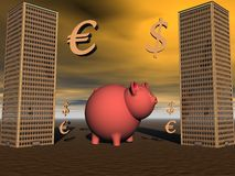Pig and euro and dollar Royalty Free Stock Images