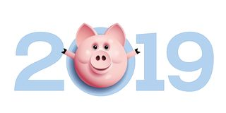 2019 with pig face. Chinese new year greetings. Eps10. RGB Global colors stock illustration