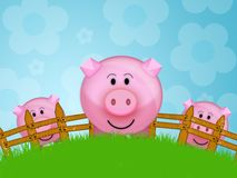 Pig in the farm. Illustration of a pink pig in a farm stock illustration