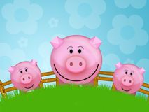 Pig in the farm. Illustration of a pink pig in a farm Stock Image