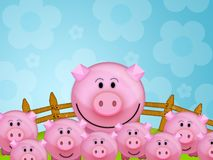 Pig in the farm. Illustration of a pink pig in a farm Stock Photography