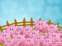 Pig in the farm. Illustration of a pink pig in a farm Royalty Free Stock Photography