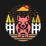 Pig in the farm abstract circle style vector design stock illustration