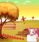 A pig in the farm with empty signboards Stock Image