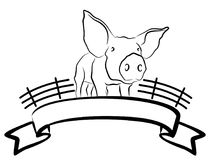 Pig farm. A symbol of pig farm with a vignette Royalty Free Stock Image