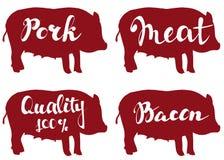 Pig farm,vector illustration sketch. set vector logo design template Royalty Free Stock Photo