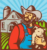 Pig Farmer Holding Piglet Barn Retro. Illustration of pig farmer with piglet facing front with farmhouse barn building in background done in retro woodcut style Royalty Free Stock Photography
