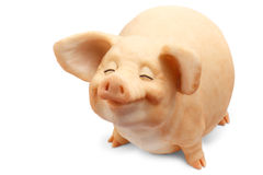 Pig figurine isolated white background object Royalty Free Stock Images