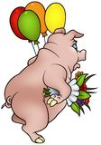 Pig with Flowers Royalty Free Stock Photos