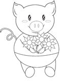 Pig with flowers coloring page Stock Image