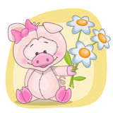 Pig with flowers Stock Photos