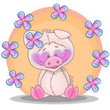 Pig with flowers Stock Photography