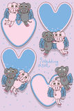 Pig fly love frame. Illustration design pig fly love frame sticker label graphic element pair couple Stock Images