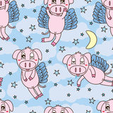 Pig fly sweet dream seamless pattern Stock Photo