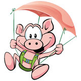 Pig flying on the ham Stock Photo