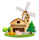 A pig in front of the farmhouse with a windmill. Illustration of a pig in front of the farmhouse with a windmill on a white background Royalty Free Stock Photos