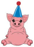 Pig in funny cap Royalty Free Stock Photography