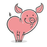 Pig funny cartoon. Royalty Free Stock Photo