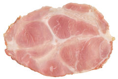 Pig Gammon Ham Slice Isolated on White Background Royalty Free Stock Images