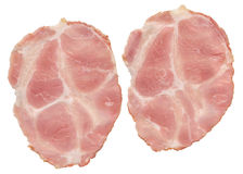 Pig Gammon Ham Slices Isolated on White Background. Slices of Pork Gammon Ham Isolated on White Background Royalty Free Stock Photography
