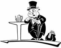 Pig gentleman in a hat and suit drinking tea Stock Photography