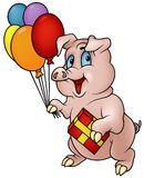 Pig with Gift vector illustration