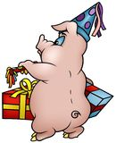 Pig with Gifts - Happy Birthday Stock Image