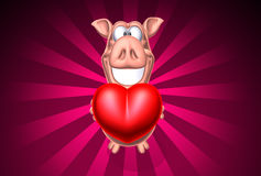 Pig giving some love Royalty Free Stock Images